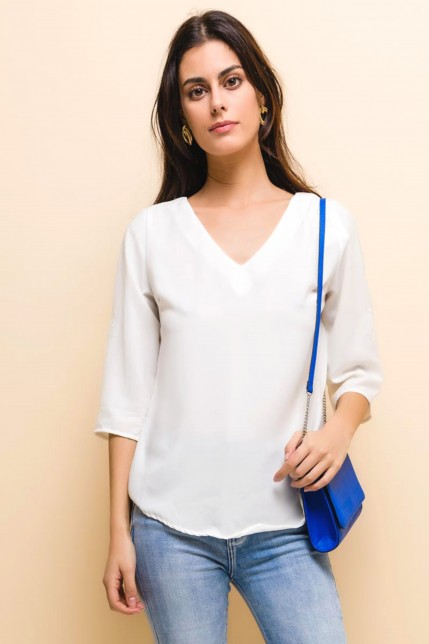 Blouse fluide dos nu à ornements
